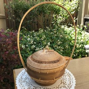 Other - One of a kind long handle wicker basket with lid